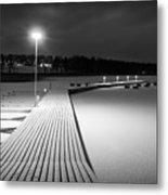 Snowy Dock Metal Print