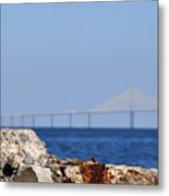 Snowy Egret And Sunshine Skyway Bridge Metal Print