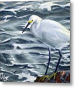 Snowy Egret On Jetty Rock Metal Print