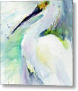 Snowy Egret On Lido Beach Metal Print