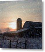 Snowy Farm Metal Print