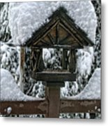 Snowy Feeder Metal Print