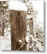 Snowy Fence Post Metal Print