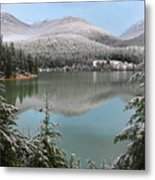 Snowy Green Lake Sunset Whistler B.c Canada Metal Print