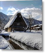 Snowy House Metal Print