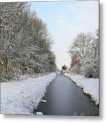 Frozen Scenery Along Canal Metal Print
