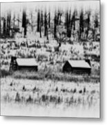 Snowy Log Cabins At Valley Forge Metal Print