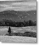 Snowy Mountain Farm Metal Print