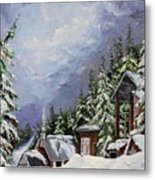 Snowy Mountain Resort Metal Print