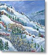 Snowy Mountain Road Metal Print