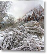 Snowy Mountains In Zion Metal Print