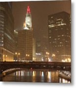 Snowy Night In Chicago Metal Print