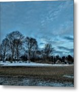 Snowy Obear Park, Beverly Ma, At Dusk Metal Print