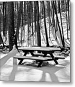 Snowy Picnic Table In Black And White Metal Print