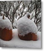 Snowy Pumpkins Metal Print
