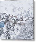 Snowy Resorts Metal Print