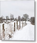 Snowy Rural Landscape Metal Print