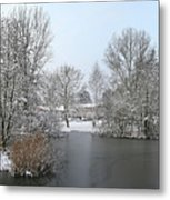 Snowy Scenery Round Canals Metal Print