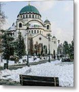 Snowy St. Sava Temple In Belgrade Metal Print