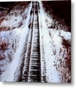 Snowy Train Tracks Metal Print