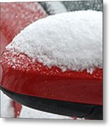 Snowy Wing Mirror Metal Print