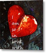 So In Love With You - Romantic Red Heart Painting Metal Print