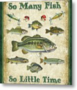 So Many Fish Sign Metal Print by JQ Licensing