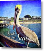 Soak Up The Sun Quote, Cute California Beach Pier Pelican Metal Print