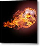 Soccer Ball With Fire Metal Print