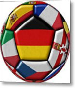 Soccer Ball With Flag Of German In The Center Metal Print