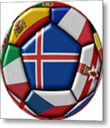 Soccer Ball With Flag Of Iceland In The Center Metal Print