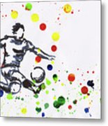 Soccer Player In Action Metal Print
