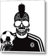 Soccer Skull Icon Background With Sunglasses And Ball. Metal Print