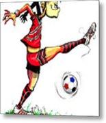Soccer Striker Metal Print