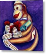 Sock Monkey With Kazoo Metal Print