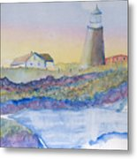 Soft Blue And A Light House Metal Print