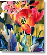 Soft Quilted Tulips Metal Print