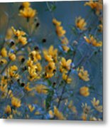 Softly Yellow And Blue Metal Print