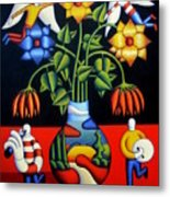 Softvase With Flowers And Figures Metal Print