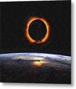Solar Eclipse From Above The Earth Painting Metal Print