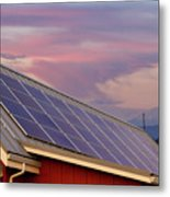 Solar Panels On Roof Of House Metal Print