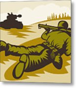 Soldier Aiming Bazooka Metal Print