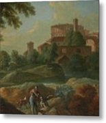 Soldiers And Dogs Near A River Metal Print