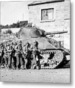 Soldiers And Their Tank Advance Metal Print