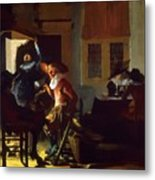 Soldiers Beside A Fireplace 1632 Metal Print