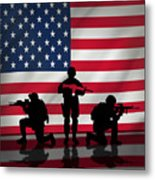 Soldiers On American Flag Metal Print