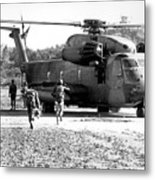 Soldiers Run To A Hh-53c Helicopter Metal Print