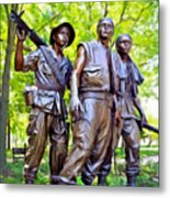 Soldiers Statue At The Vietnam Wall Metal Print