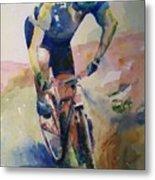 Solitary Biker Metal Print