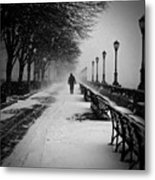Solitary Man In The Snow Metal Print